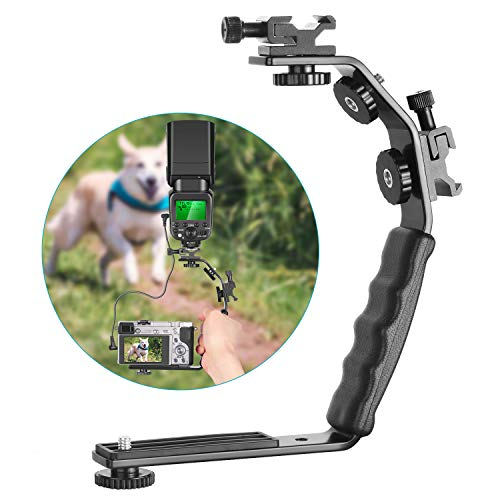 - Neewer Camera Video L-Shape Flash Bracket with Dual Flash Cold Shoe Mount 1/4 inches Tripod Screw Versatile Handheld for Camera Camcorder Video Shooting and Product Photography
