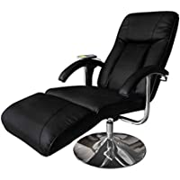 SKB Family Black Electric TV Recliner Massage Chair Full Body Heat Lounge