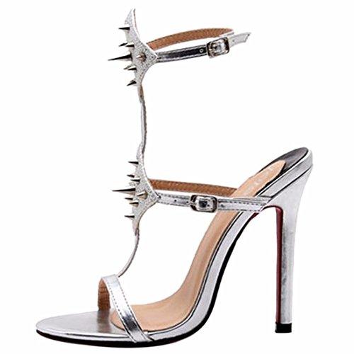 QIYUN.Z Mujeres De La Moda Bling Del Remache De Cuero De La PU Punta Abierta Del Tobillo Correa Sandalia De Los Zapatos De Tacon Plata