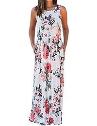 Women's Sleeveless Racerback Floral Print Boho Maxi Dress...