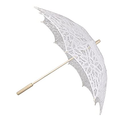 Paraguas de encaje para novia, decoración de boda o accesorio de fotografía, color blanco