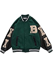 SKYWPOJU Unisex College Jacket Heren College Jas Sweatshirt College Streetwear Baseball Sportjas Sweatjack Boys