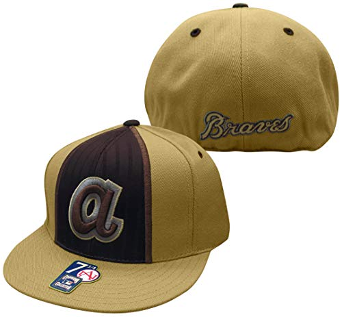 American Needle Atlanta Braves MLB Tan and Chocolate Cooperstown Collection Fitted Baseball Hat/Cap