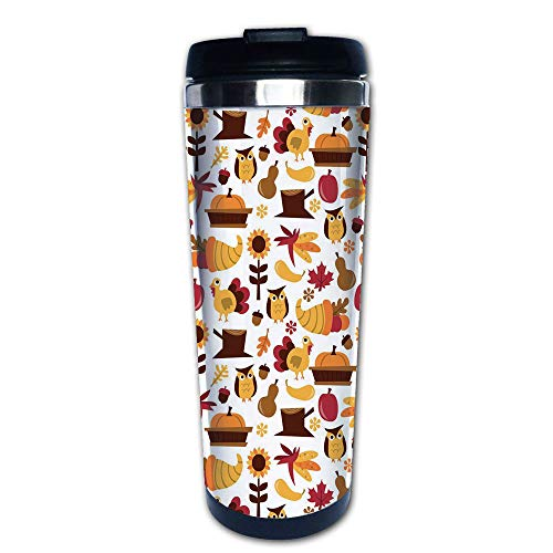 Stainless Steel Insulated Coffee Travel Mug,Nuts Maple Leaves Owls Roosters Pumpkins,Spill Proof Flip Lid Insulated Coffee cup Keeps Hot or Cold 13.6oz(400 ml) Customizable printing