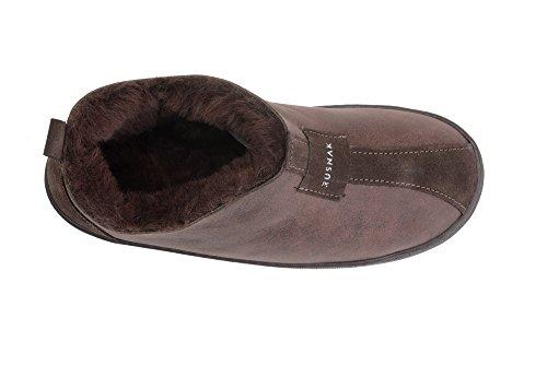 B002 Chaussures Peau Vogar Marron Chaud De Avec Laine Luxe Femmes Mouton Chaussons Pantoufles Doublure vqww07FOE