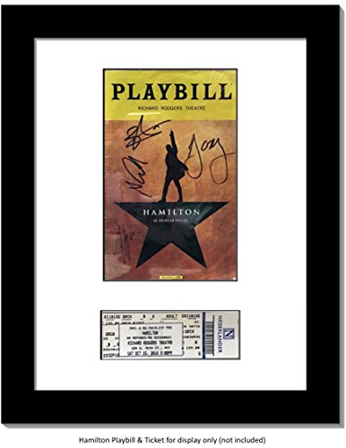 CreativePF [11x14bk-w] Black Theatre Playbill Frame and Ticket w/ White Matting, Easel Stand and Wall Hanger Included (Playbill not included) - 14bk Satin