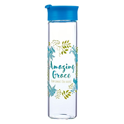 - Amazing Grace Blue Water Bottle - Christian Water Bottle for Women, Flower & Scripture Inspirational Water Bottle for Everyday Use (BPA Free 20oz Wide Mouth Water Bottle)