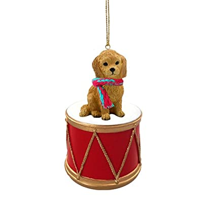 Animal-Den-Little-Drummer-Goldendoodle-Christmas-Ornament-Hand-Painted-Delightful