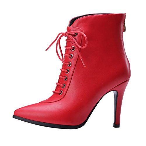 ENMAYER Mujeres Nombramiento de Nuevo de Manera Simple y cómoda Cremallera Señaló Botas Rojo