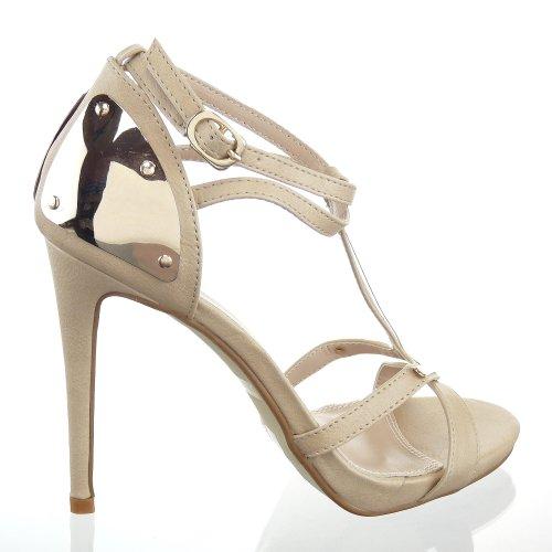Kickly–Scarpa modalità Scarpa Sandale Stiletto caviglia donne metallico Tacco Alto Tallone 11cm–Beige/Oro
