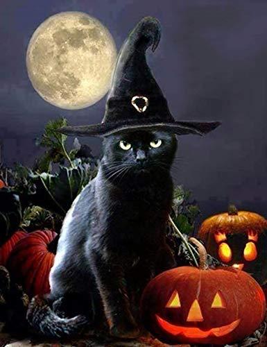 (LeePakQ 12×16inch Diamond Painting Full Halloween Paint with Diamond Cross Stitch Kits Diamond Embroidery Dotz Kit Arts Craft,Evil Pumpkin and Witch)