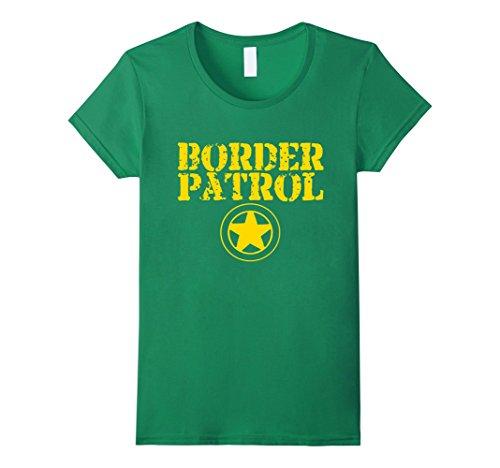 Womens Border Patrol Shirt Easy Lazy Halloween Costume Tshirt Medium Kelly Green