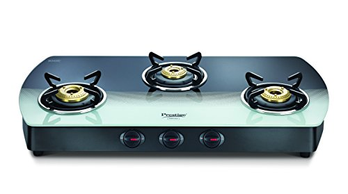 Prestige Premia Glass 3 Burner Gas Stove (Black and White Multicolor)