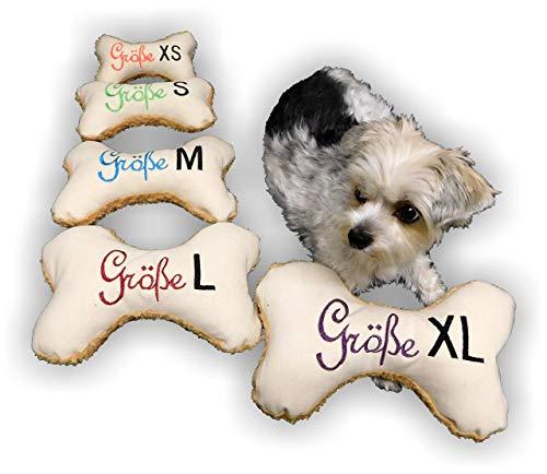 LunaChild Handmade Hunde Spielzeug Kissen Knochen Hundeknochen Quietscher/Rassel creme mit Name Wunschname Größe XXS XS S M L XL oder XXL personalisiert Geschenk