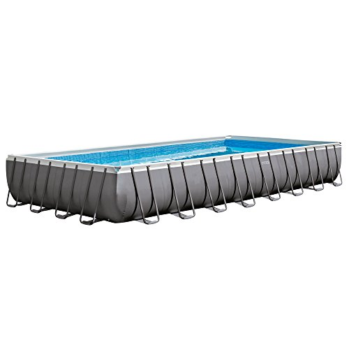 Intex 32ft X 16ft X 52in Ultra Frame Rectangular Pool Set with Sand Filter Pump, Ladder, Ground Cloth and Pool Cover