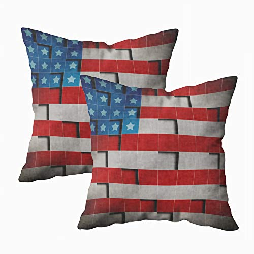 Capsceoll Throw Pillow Covers, 2PCS Retro Grunge America Four July Pattern Wallpaper 18x18 Pillow Covers,Home Decoration Pillow Cases Zippered Covers Cushion for Sofa Couch ()