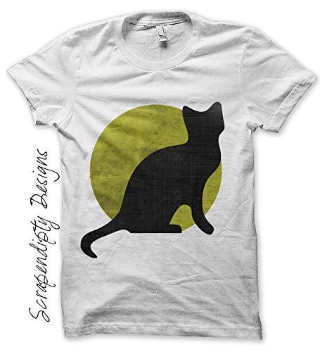 Black Cat For Halloween Printables (Halloween Iron on Transfer - Iron on Black Cat Shirt Kids Toddler Boys Clothing Baby Halloween Tshirt Black Cat Moon Printable)