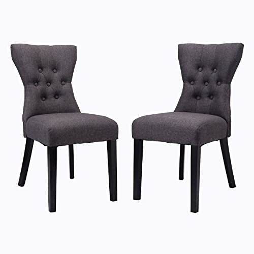 Giantex 2PCS Dining Chair Modern Elegant Chair Home Kitchen Living Room Furniture (Gray)