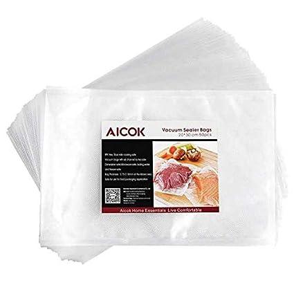 Aicok Bolsas Envasado al Vacío, 50 Piezas 20x30 cm, Bolso en Relieve para Conservación de Alimentos y Cocción al Vacío Ideal para Cocina, Bolsas de ...