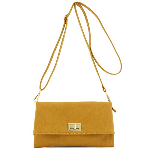 Double Compartment Turnlock Envelope Clutch Crossbody Bag ()