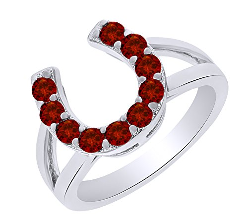 0.72 Ct Round Cut Simulated Garnet Horseshoe Ring in 14k White Gold Over Sterling Silver Ring Size - 6