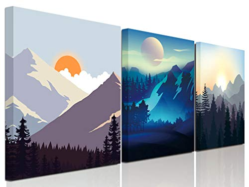Abstract Sunrise and Sunset Canvas Prints Wall Art  Geometry Cartoon Artworks Modern Pictures for Living Room Bedroom Bathroom Home Children's Room Office Decor, 12x16inx3 Panels  illustrations Big po