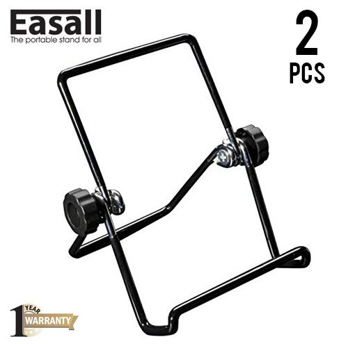 Expanding Photo Organizer (2 pcs Multipurpose Portable Easel Wire Display Stand for Book Picture iPad Smartphone Kindle Art Collection with Heavy Duty Anti-scratch Vinyl Coated Wire and Selectable Viewing Angles)