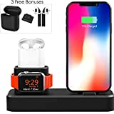 4 Piece Apple Charging Station - 3 in 1 Docking Stand for iPhone - iPad - Airpods and Watch - with Bonus Skins - Watch Band and Charger Case Cover Accessories