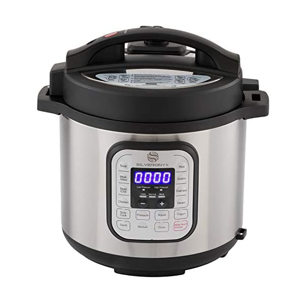 SilverOnyx 10-in-1 Programmable Pressure Cooker 6 Quarts with Stainless Steel Pot, Steamer & Warmer, Recipe Book… 1