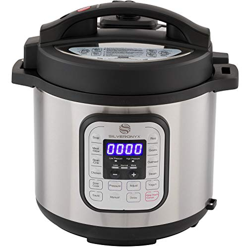 SilverOnyx 10-in-1 Programmable Pressure Cooker 6 Quarts with Stainless Steel Pot, Steamer & Warmer, Recipe Book Included. Instant Pressure Cook, Slow Cook, Sauté, Rice Cooker, Yogurt Maker - 6 Quart (Best Multi Cooker 2019)