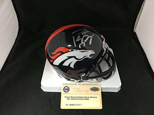 Peyton Manning Signed Autographed Denver Broncos Mini Helmet Steiner Sports COA & Hologram W/Photo From Signing