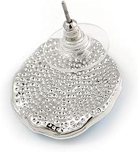 Avalaya 40 cm de Largo, 7 cm de Largo Collar y Pendientes de Gota de Cristal geom/étrico con Esmalte Chapado en rodio