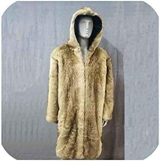 Winter Autumn Men Faux Fox Fur Coat Long Windbreaker Loose Warm Man Leather Peacock Feather Leather Jacket