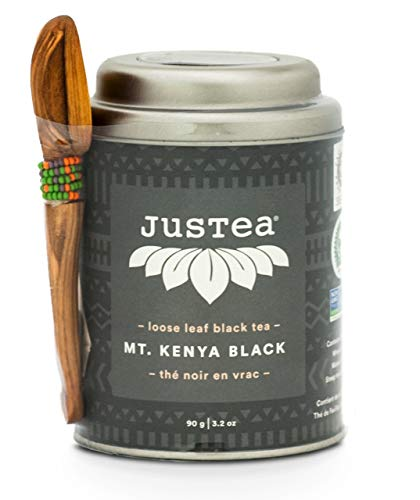 - JusTea MT. KENYA BLACK Loose Leaf Black Tea with Hand Carved Tea Spoon, 3.2 Ounce Tin