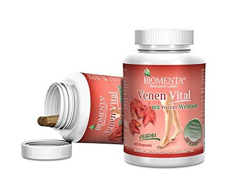 Biomenta® VENEN VITAL - enthält rotes Weinlaub und Flavonoide - 60 Weinlaub Venen-Tabletten - 1 Monatskur