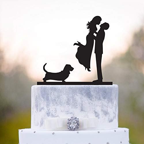 Cake topper dog,Wedding cake topper with dog,Basset hound wedding cake topper,Basset hound cake topper,topper with dog,Basset hound,a17