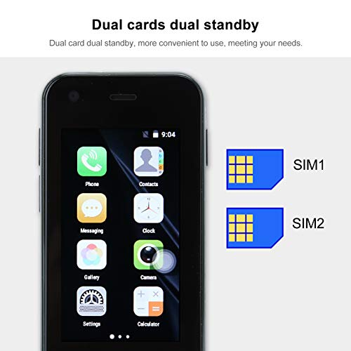 XS11 Smart Cell Phone, 2.5 Inch 3G Mini WiFi Smartphone Dual Cards Dual Standby, Android Dual Camera 1+8G Unlocked Smartphone (Green)