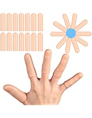 16 Pieces Gel Finger Protector Finger Cots Silicone Finger Cover Cap Gel Finger Sleeves Finger Support for Finger Protector, Hand Eczema, Finger ing, Finger Arthritis and More, Apricot Color
