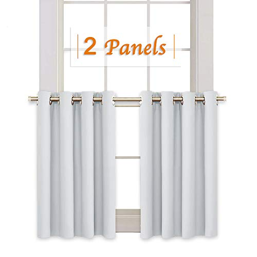 RYB HOME Window Decoration Curtain Tiers Valances Set, Grommet Top Small Curtains for Kitchen Cabinet, Room Darkening Drapery for Laundry, 52 Width x 36 Length Per Panel, Grayish White, 2 Pcs (Wide Short Curtains)