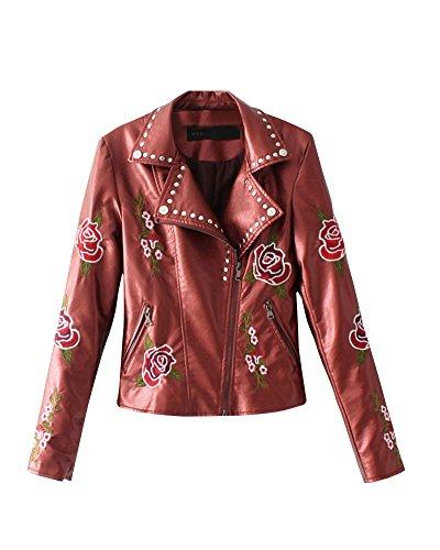 Imitacion Mujeres Motociclista Chaqueta DianShao Rojo Ropa Corta Bordado De Cuero Solapa De Outwear De Vino RtqdqwA