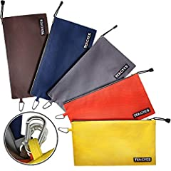 "Canvas Zipper Tool Bag, 5 Pack 12.5"" x 7"" Utility Bags, 16oz. Heavy Duty Metal Zippers Tool Pouch, Multi-Purpose Durable Storage and Organizer Clip-on Bag for Men, Women, Kids Organize your life! This value pack of sturdy canvas tool bag is p..."