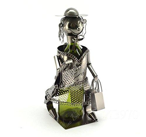 WINE BODIES ZB970 Shopaholic Lady Metal wine Bottle Holder Character, ()