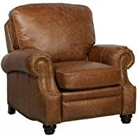 Barcalounger Longhorn II Leather Recliner Saddle Leather/Espresso Wood Legs