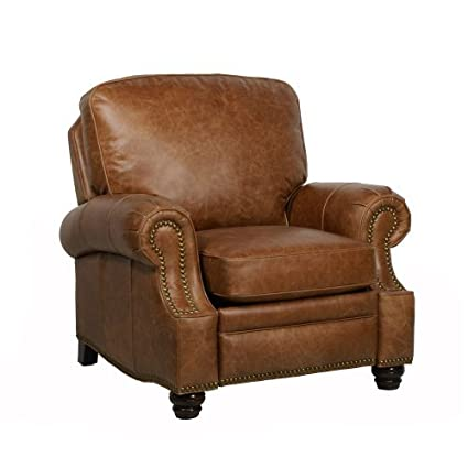 Attrayant Barcalounger Longhorn II Leather Recliner Saddle Leather/Espresso Wood Legs