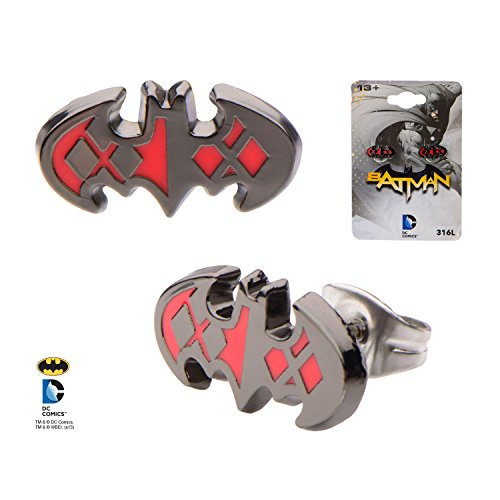 DC Comics Batman Harley Quinn Logo Stud Earrings Women's Stainless Steel (Batman Ear Ring)