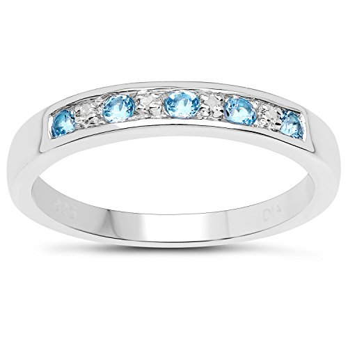 The Diamond Ring Collection: 3mm wide Sterling Silver Channel set Blue Topaz & Diamond Eternity Ring, Size H,I,J,K,L,M,N…