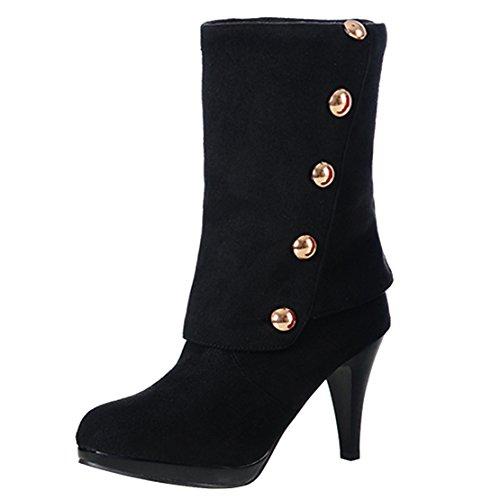 mit Absatz High Elegant 8cm Halbschaft Schwarz Damen AIYOUMEI Boots Stiletto Nieten Winter Calf Mid Stiefel und Heels 0Aqtw