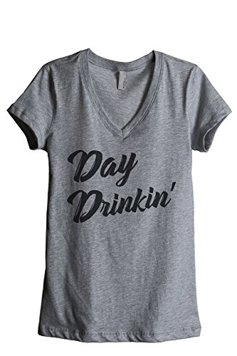 Thread Tank Day Drinkin Drinking Women's Relaxed V-Neck T-Shirt Tee Heather Grey Large