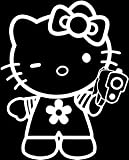 hello kitty gun car decal - Hello Kitty Gun WHITE Vinyl Car/Laptop/Window/Wall Decal
