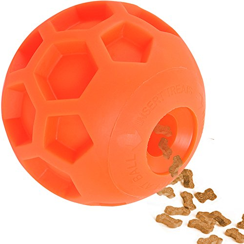 fan products of Hipat Large Dog Treat Ball,FUN INTERACTIVE Dog Food Dispenser Toy, Pet HEALTHY and IQ Ball, Green Soft Rubber Orange Soccer Better to Grip,with Fragrance,4.5 Inch